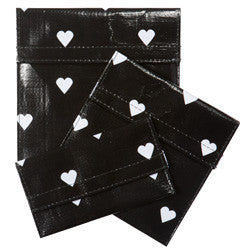 Set of 3 Reusable Snack Bags - Black Hearts