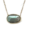 14K Solid Gold Labradorite  Solitaire Necklace - Sheri Beryl - 1