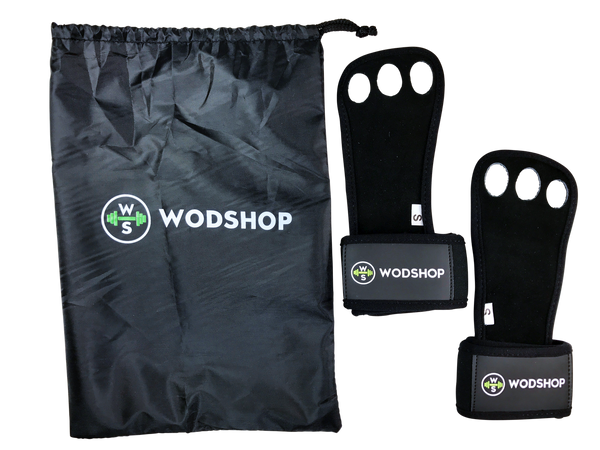 WODshop PR3 Pull Up Fitness Grips -  Wrist Wrap Hand Grips