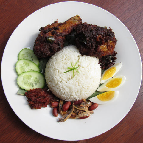 Nasi Lemak (Coconut Rice) with Spiced Fried Chicken