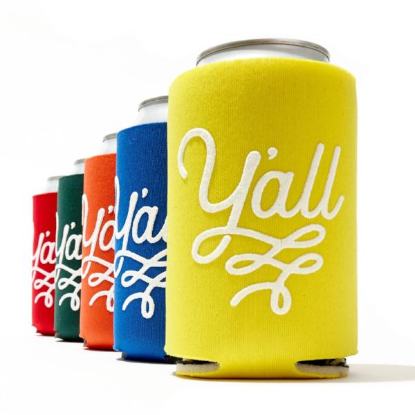 Y'all Texas Can Coolers Collapsible Beverage Insulators - Set of 5 Colors