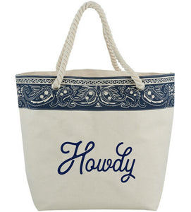 Texas Tote Bag with Navy Bandana Details with Howdy Design Cotton Canvas Tote Bag Texas Gift