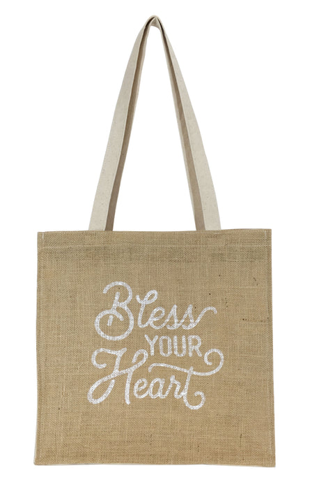 Texas Tote Bag with Bless Your Heart Design in Burlap and Canvas Texas Gift