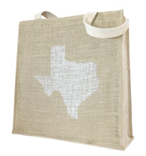 Texas Tote Bag in Burlap and Canvas with Texas Design Texas Gift
