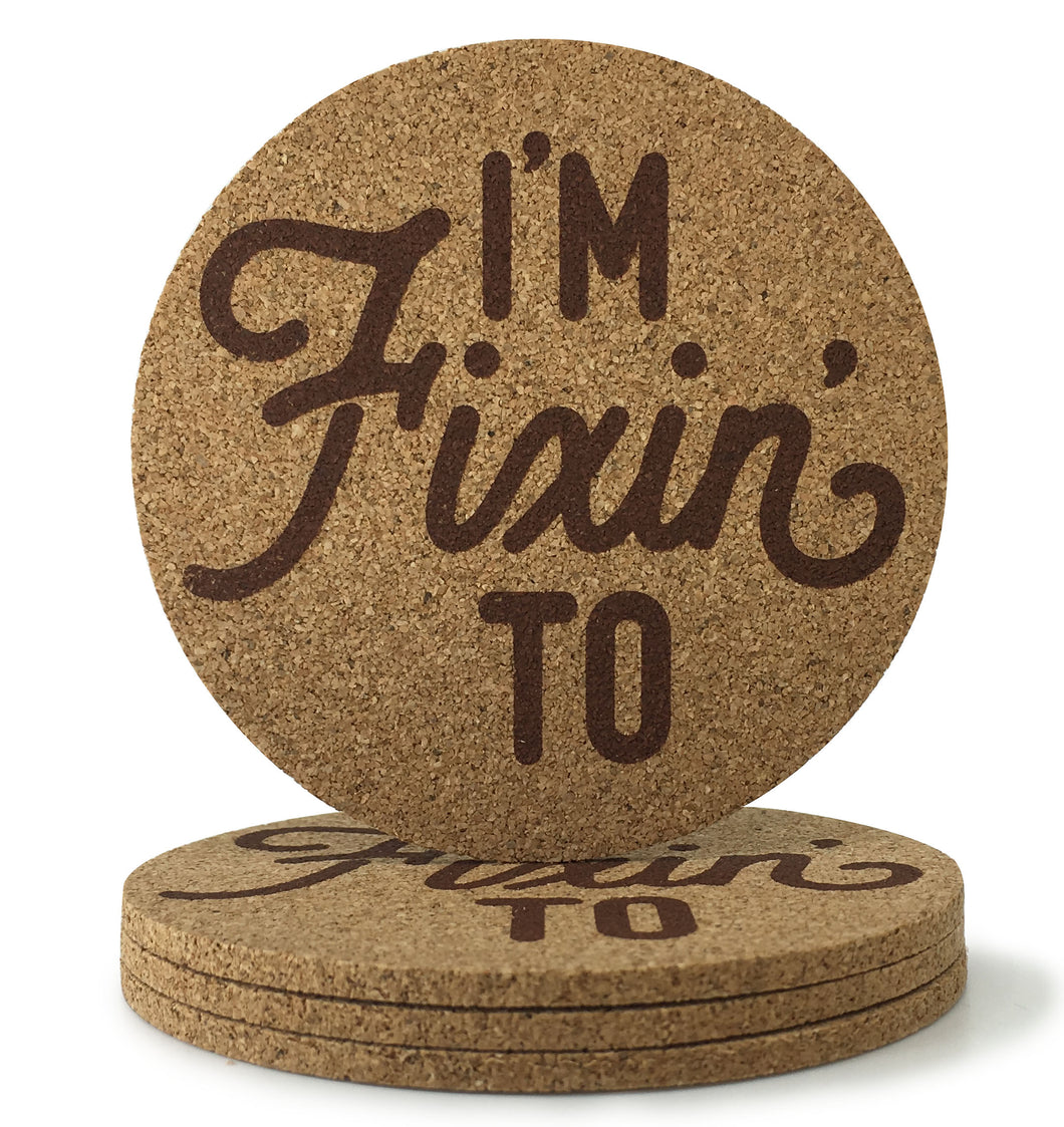 I'm Fixin' To Texas Cork Coasters 3.5 Inch Coasters - Set of 4