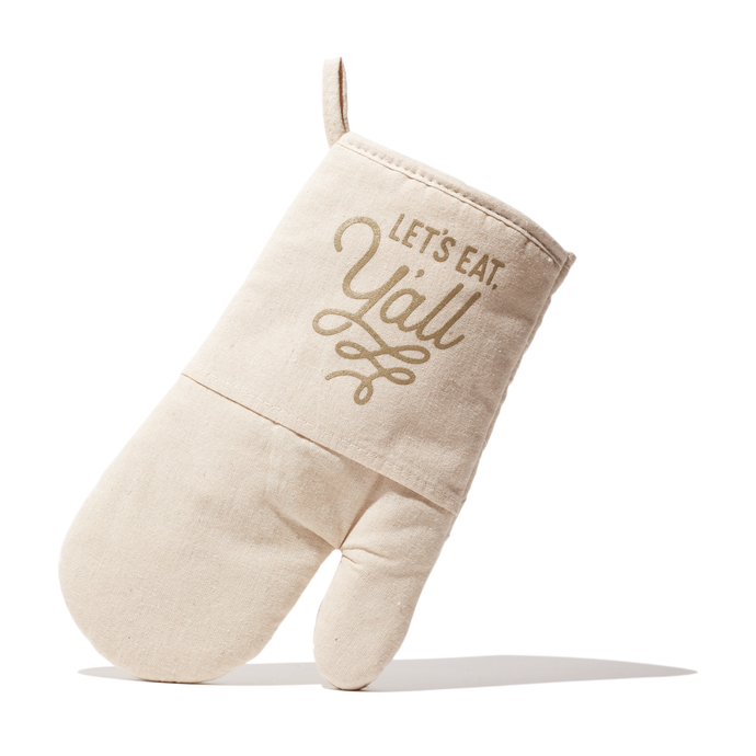 Texas Oven Mitt with Let's Eat Y'all Design in Natural Quilted Cotton Texas Gift