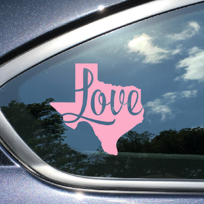 Texas Car Decal Love Texas Pink Vinyl Window Sticker