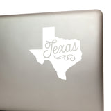 Texas Car Decal White Texas Shaped Vinyl Car Window Sticker