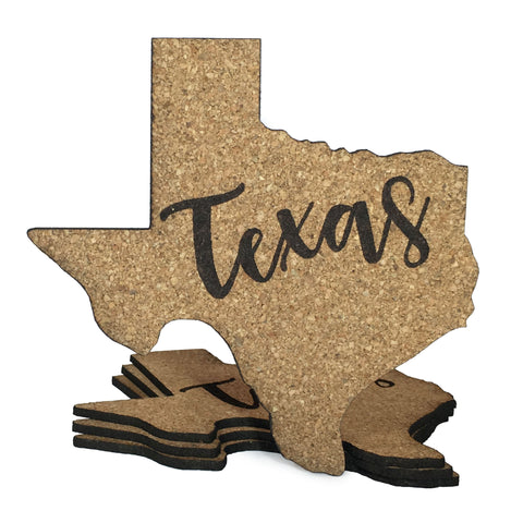 Texas Coaster Set Fire Branded Cork 5 x 5 Inches - Set of 4