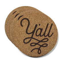 Y'all Texas Cork Coasters 3.5 Inch Coasters - Set of 4