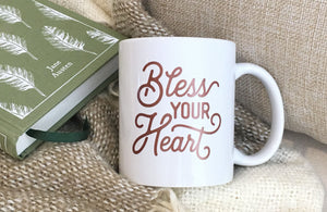Bless Your Heart Texas Coffee Mug Dark Pink Design 11 oz Mug with Gift Box
