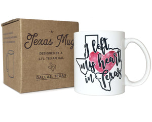 Texas Coffee Mug I Left My Heart in Texas Design 11 oz Mug with Gift Box