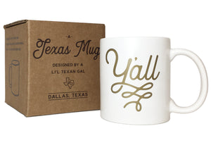 Y'all Texas Coffee Mug Gold Design 11 oz Mug with Gift Box