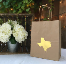 Texas Gift Natural Kraft Bag with Gold Foil Texas Shape Cub Size - Set of 6