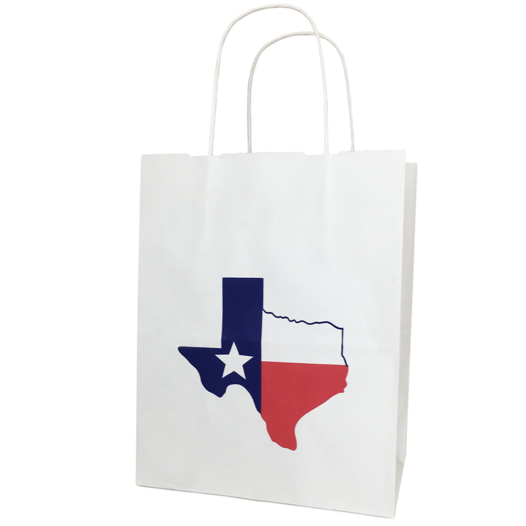 Texas Gift Paper Bag with Texas Shaped Flag White Kraft Gift Bag Cub Size - Set of 6