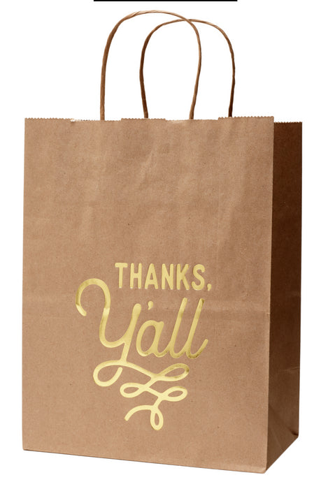 Thank You Gift Bag with Thanks, Y'all Design in Kraft - Set of 6