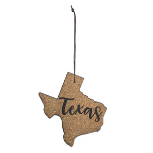 Texas Christmas Ornament Fire Branded Cork Texas Shaped Ornament - Set of 4