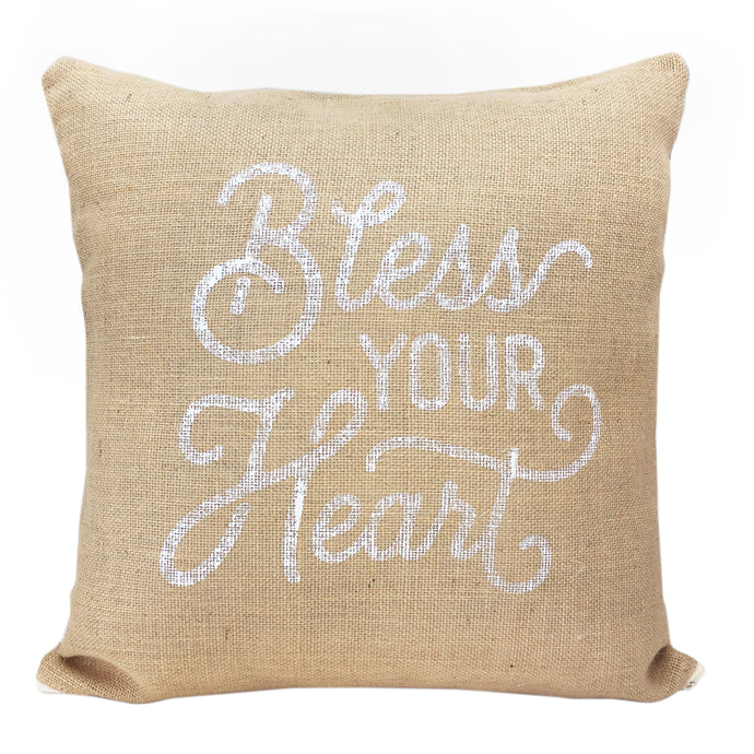 Burlap Texas Pillow Cover Bless Your Heart Design - 18 Inch