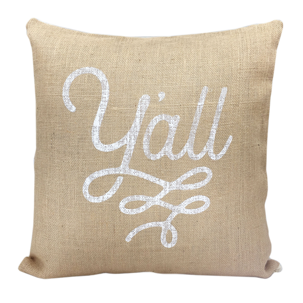 Burlap Texas Pillow Cover Y'all Design - 18 Inch