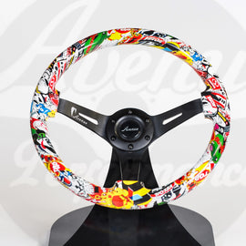 AVENUE STICKERBOMB/ BLACK SPOKES HYDRO DIPPED STEERING WHEEL