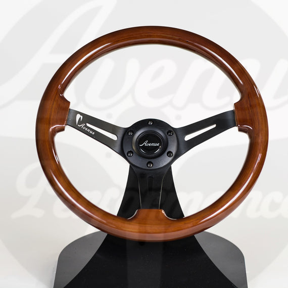AVENUE WOODGRAIN W/ BLACK SPOKE STEERING WHEEL