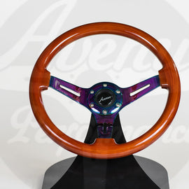 AVENUE STEERING WHEEL WOODGRAIN W/ NEOCHROME SPOKES