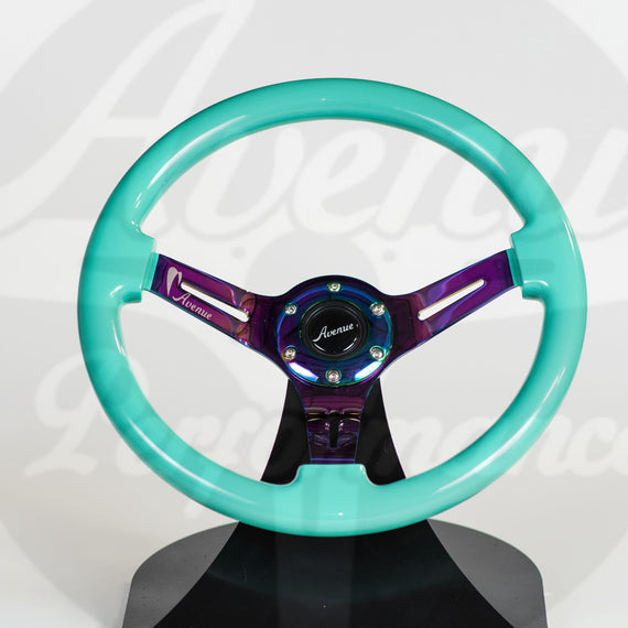 AVENUE STEERING WHEEL MINTY GREEN/ NEOCHROME SPOKES
