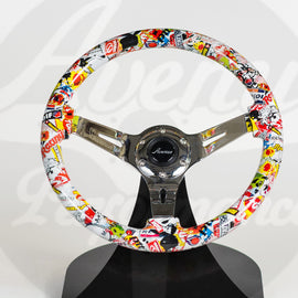 AVENUE STICKERBOMB/ CHROME SPOKES HYDRO DIPPED STEERING WHEEL