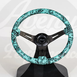 AVENUE MINTY DIGI CAMO/ BLACK SPOKES HYDRO DIPPED STEERING WHEEL
