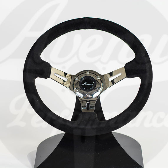AVENUE BLACK SUEDE/ BLACK STITCHING/ CHROME SPOKES STEERING WHEEL
