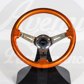 AVENUE STEERING WHEEL BURNT ORANGE/ CHROME SPOKES