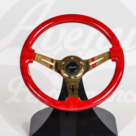 AVENUE CRIMSON RED/ GOLD SPOKES STEERING WHEEL