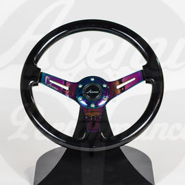 AVENUE STEERING WHEEL RAVEN BLACK W/ NEOCHROME SPOKES