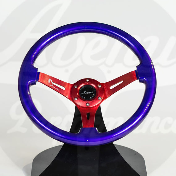 AVENUE STEERING WHEEL ELECTRIC PURPLE W/ RED SPOKES (LIMITED SERIES)