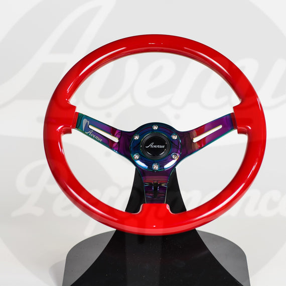 AVENUE CRIMSON RED/ NEOCHROME SPOKES STEERING WHEEL