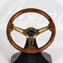 AVENUE STEERING WHEEL WOODGRAIN W/ GOLD SPOKES