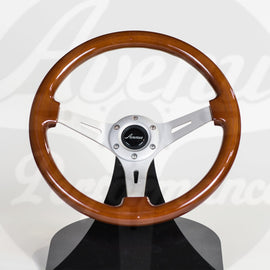 AVENUE STEERING WHEEL WOODGRAIN W/ AL BRUSHED SPOKES
