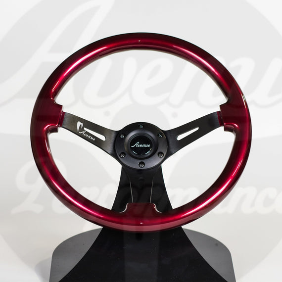 AVENUE CHERRY PEARL/ BLACK SPOKES STEERING WHEEL
