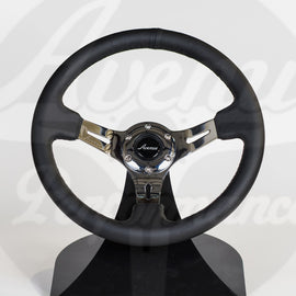 AVENUE STEERING WHEEL BLACK LEATHER/ BLACK STITCH/ CHROME SPOKES