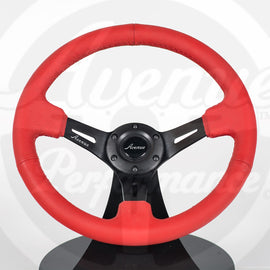 AVENUE RED LEATHER/ RED STITCH/ BLACK SPOKES STEERING WHEEL