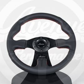 AVENUE BLACK LEATHER/ RED STITCH/ BLACK SPOKES FLAT LINE STEERING WHEEL 330MM