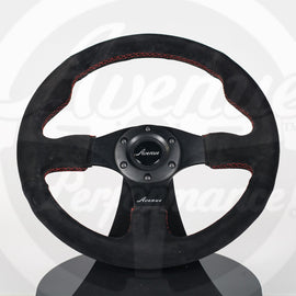AVENUE BLACK SUEDE/ RED STITCH/ BLACK SPOKES FLAT LINE STEERING WHEEL 330MM