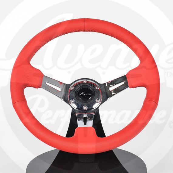 AVENUE RED LEATHER/ RED STITCH/ CHROME SPOKES STEERING WHEEL