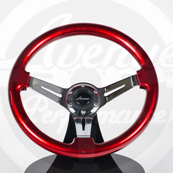 AVENUE CANDY APPLE/ CHROME SPOKES STEERING WHEEL