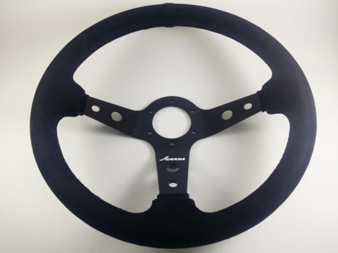 AVENUE STEERING WHEEL BLACK SUEDE/ RED STITCH/ BLACK SPOKES DISCONTINUED AS/IS