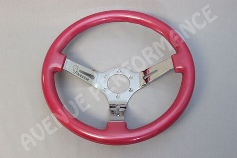 AVENUE STEERING WHEEL PERSIAN PINK CHROME SPOKES 330MM AS/IS
