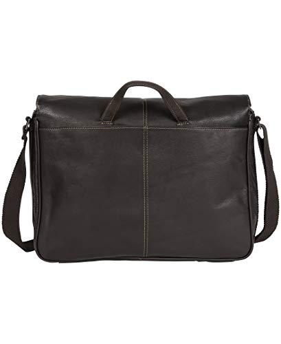 Kenneth Cole Reaction Colombian Leather Slim Single Compartment Flapover Business Messenger Bag, Brown