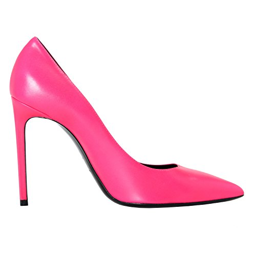 Saint Laurent Women's Fuchsia Pink Leather High Heel Pumps Shoes US 9.5 IT 39.5;