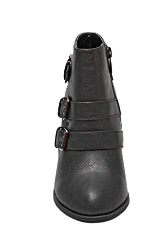 Forever Women's Buckle Strap Block Heel Ankle Booties, Black 8