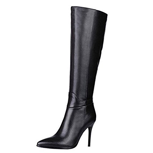 VOCOSI Women's Leather Knee High Boots Pointy Toe Side-Zip High Heels Dress Boots